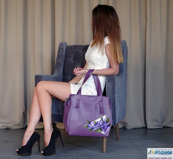 Кожаная сумка с принтом Amiris 61614