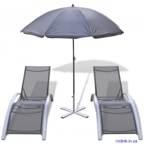 2 садовых шезлонга + зонт